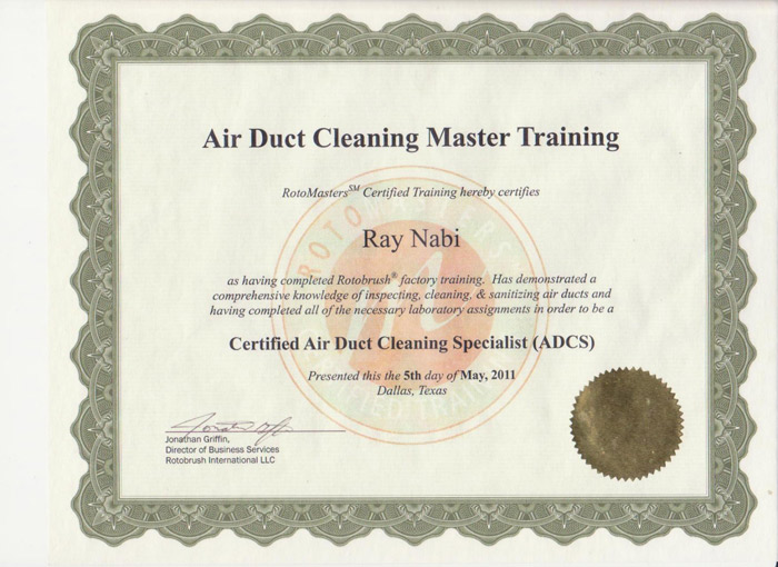 Air Duct Cleaning Certification